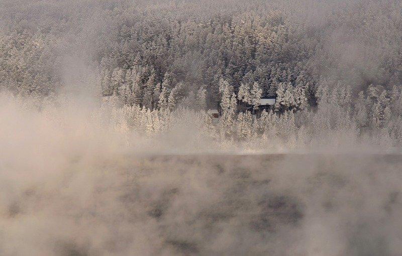 енисей, мороз, изморозь.банька. Сквозь  морозный туман.photo preview