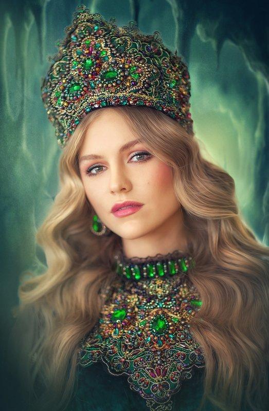 малахитовая шкатулка, зеленый, хозяйка медной горы, красивая девушка, блондинка, сказочный портрет, малахитовый цветок Малахитовый цветокphoto preview
