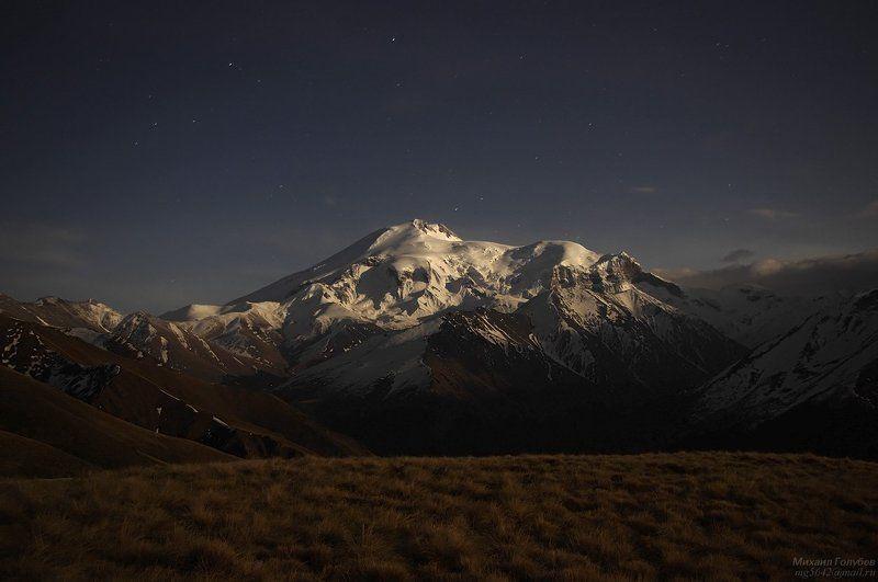 горы, кавказ, эльбрус, ночь, звезды Ночной Эльбрусphoto preview