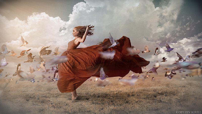 птицы, платье, девушка, коллаж, манипуляции, движение photo preview