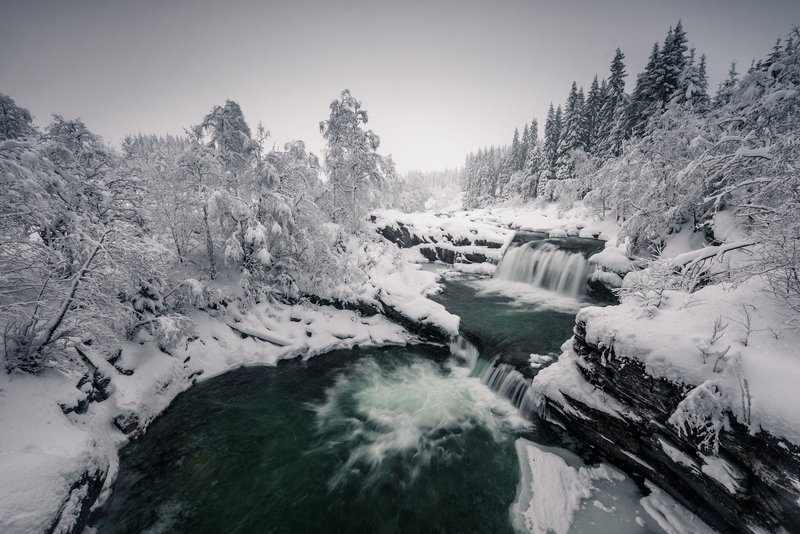 norway,winter,waterfall Norwegian winterphoto preview