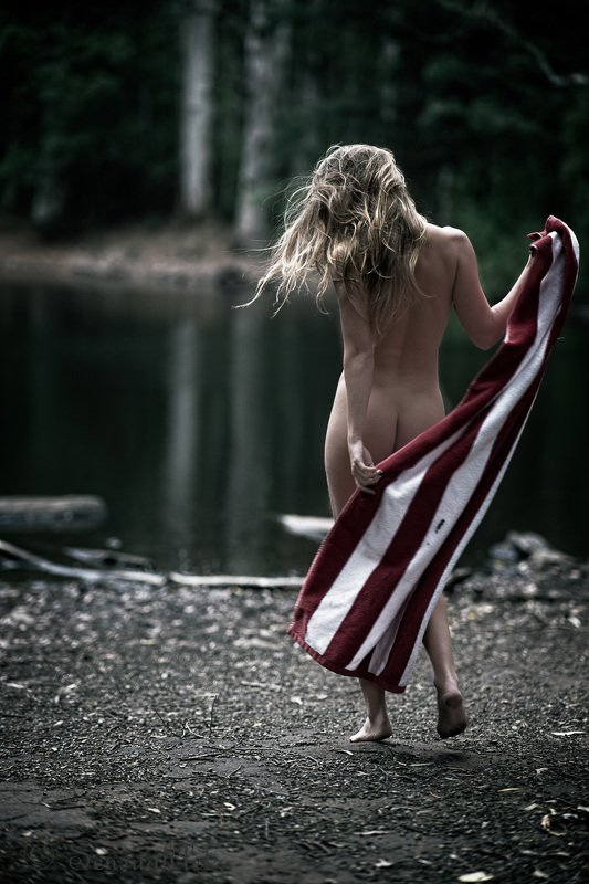female, woman, nude Skinny dipping in the lakephoto preview