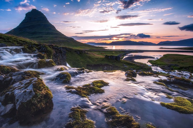 исландия,iceland рассвет у горы \