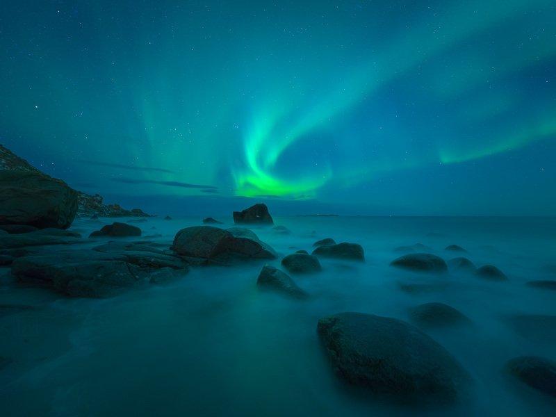 норвегия, лофотены, lofoten, norway, ночь, night, сияние, aurora Норвежская ночьphoto preview