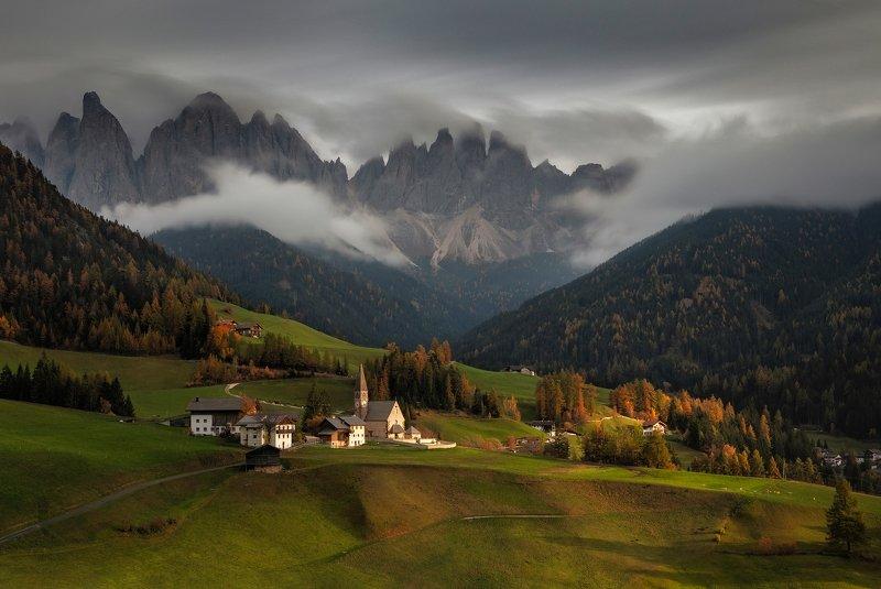mountains, dolomites, italy, sunset, landscape, nature, travel, autumn, peak, clouds, church, Santa Maddalenaphoto preview