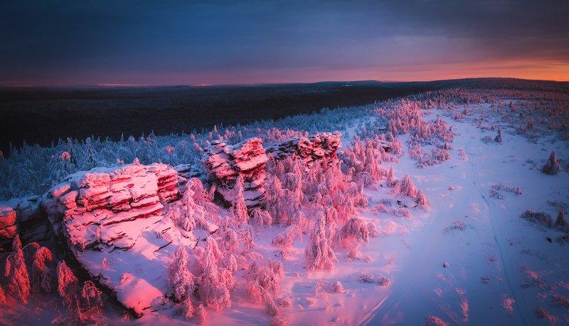 пермский край, пейзаж, крестовая, губаха, горы, зима, снег, закат Закат на Крестовойphoto preview