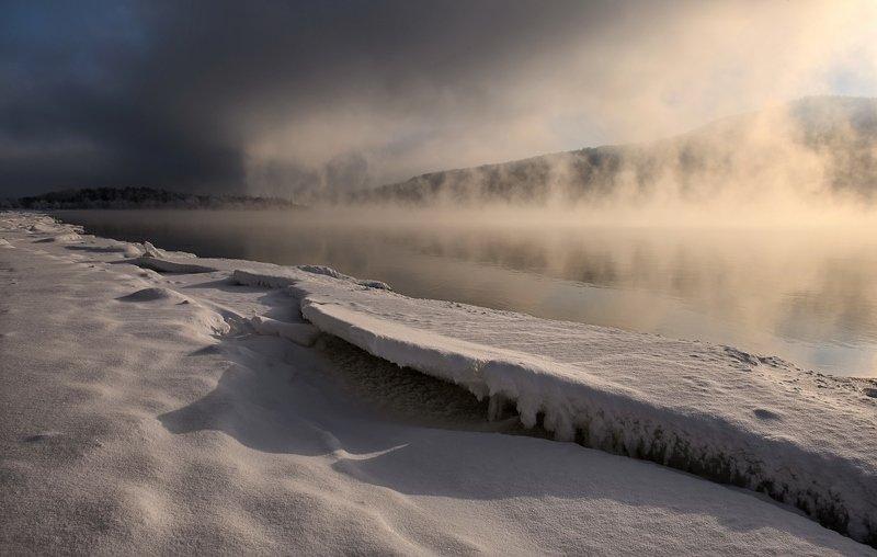 рассвет, берег, мороз, енисей. Нежная снежность.photo preview