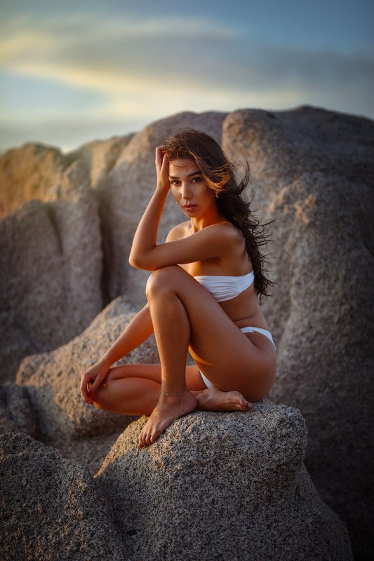 girl, model, sunset, italy, beautiful Cesca and sardinian sunsetsphoto preview