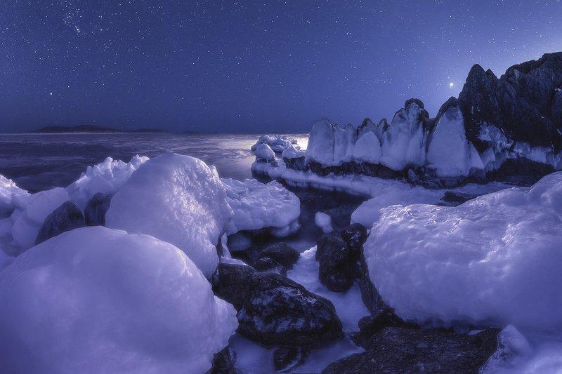панорама, море, скалы, лёд, зима, ночь ***photo preview