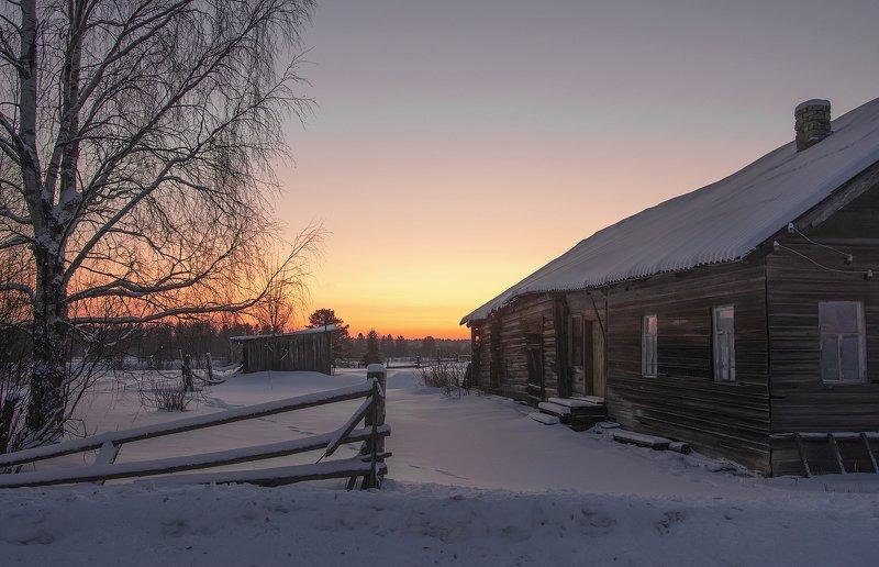 архангельская обасть, закат, зима, мороз, русский север, заброшенные деревни Морозный закатphoto preview