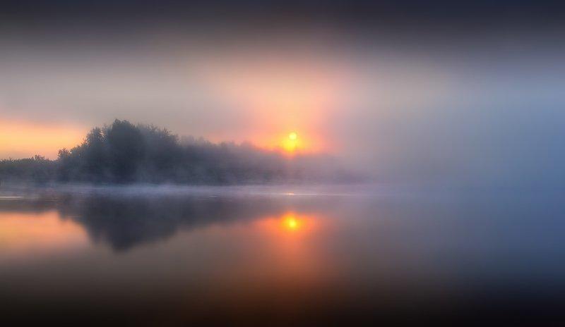 рассвет, река, дымка, Про два солнца и туманphoto preview
