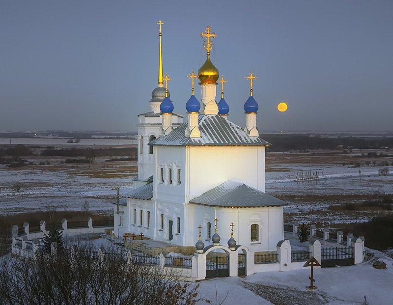 пейзаж,рассвет.храм,церковь,вера,луна Светает.photo preview