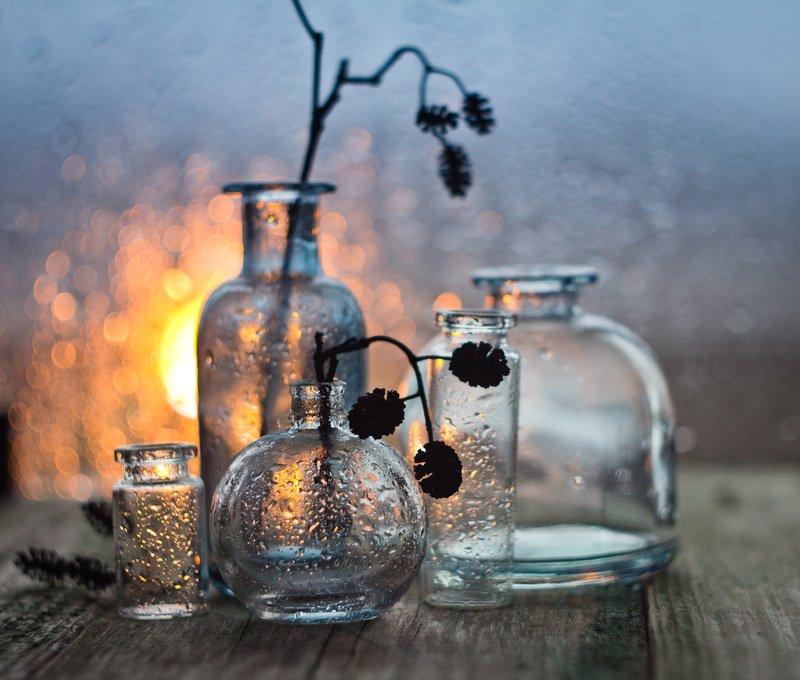 ольха, натюрморт, боке, прозрачный, брызги, вода, закат, солнце, бутылки, банки, стекло, красивый, лето, still life Закатная ольхаphoto preview