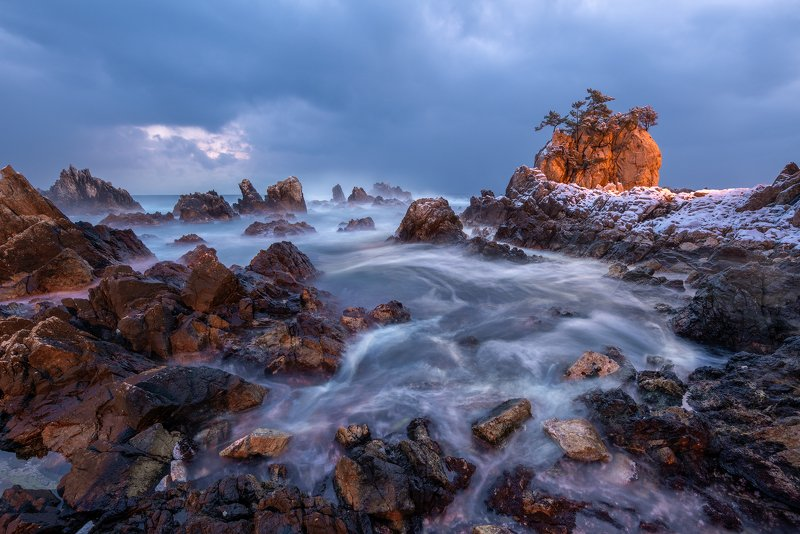 seaside, rock formation, beach, outdoor, water, nature, light, snow Swirlingphoto preview