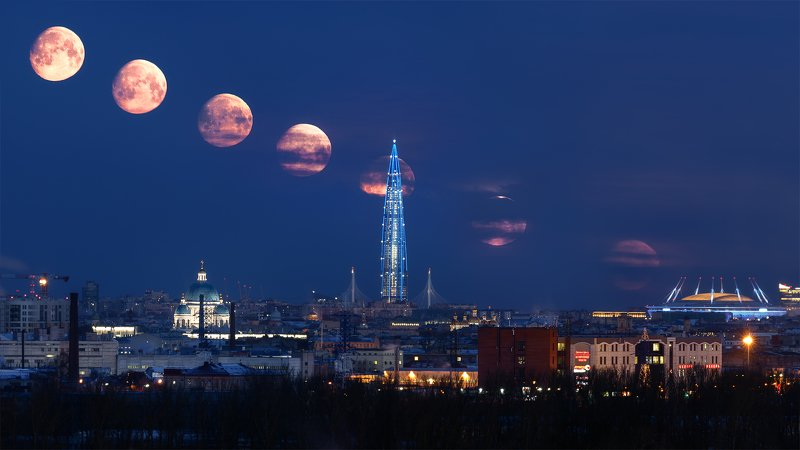 луна, город, пейзаж, петербург Этапы заката луныphoto preview