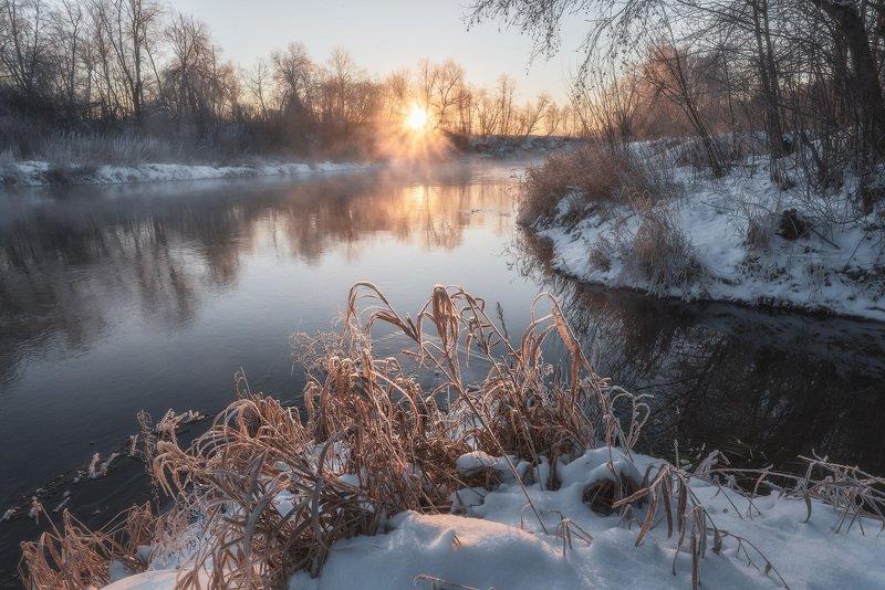 рассвет, истра, бужарово, морозное утро Рождение нового дняphoto preview