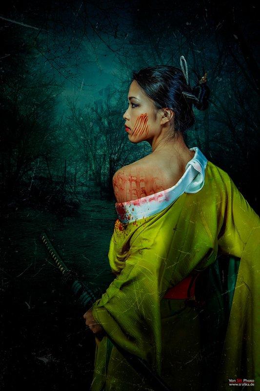 girl, forest, woods, blood, dark, katana, kimono Nelumbo Nuciferaphoto preview