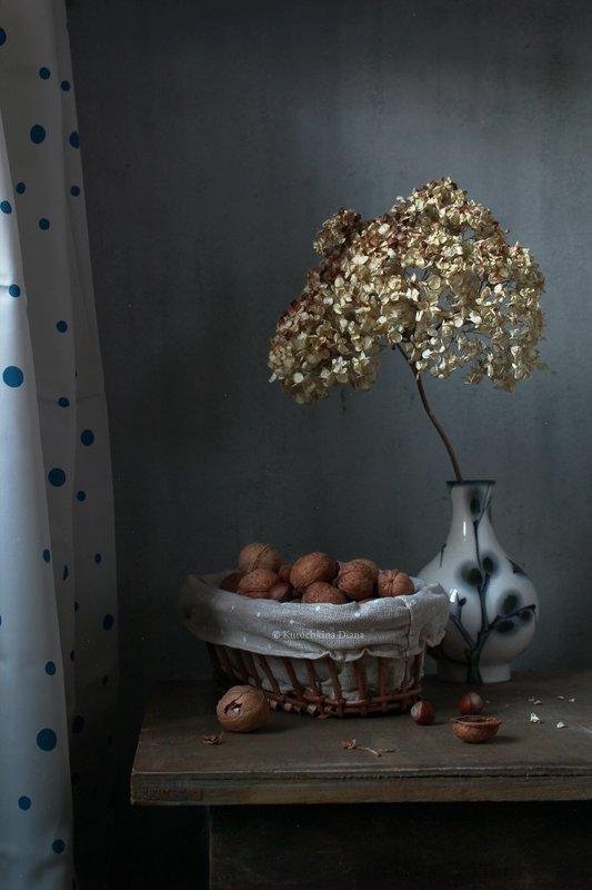 натюрморт, орехи, грецкие орехи, гортензия Натюрморт с орехамиphoto preview