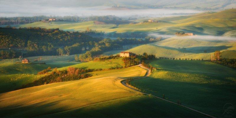 пейзаж, природа, поле, тоскана, вилла, весна Утреннее солнце Тосканыphoto preview