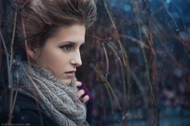 девушка, портрет, снег photo preview