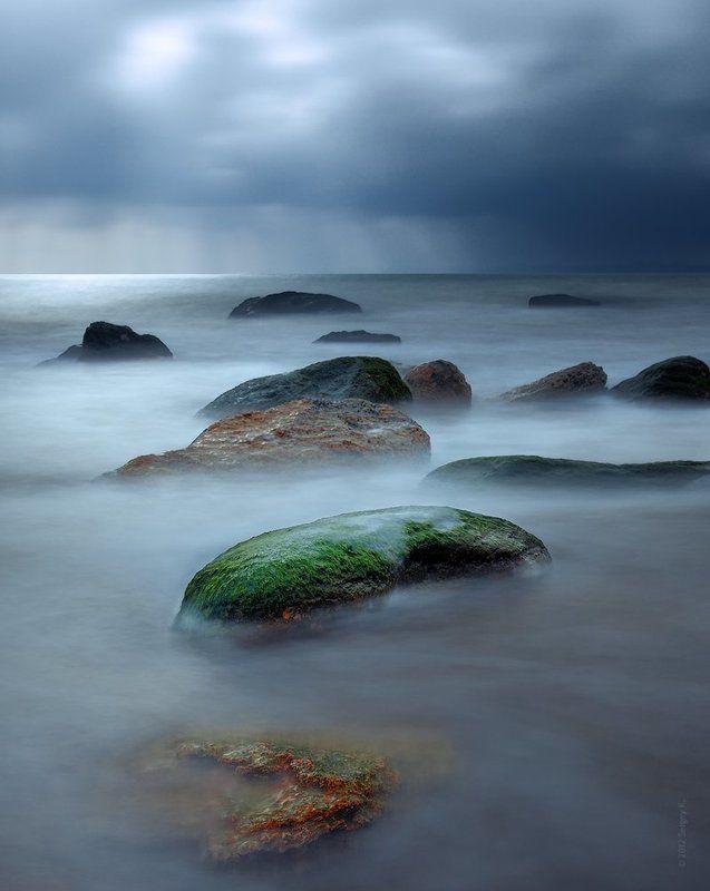 одесса, пляж, камни, дождь ***photo preview