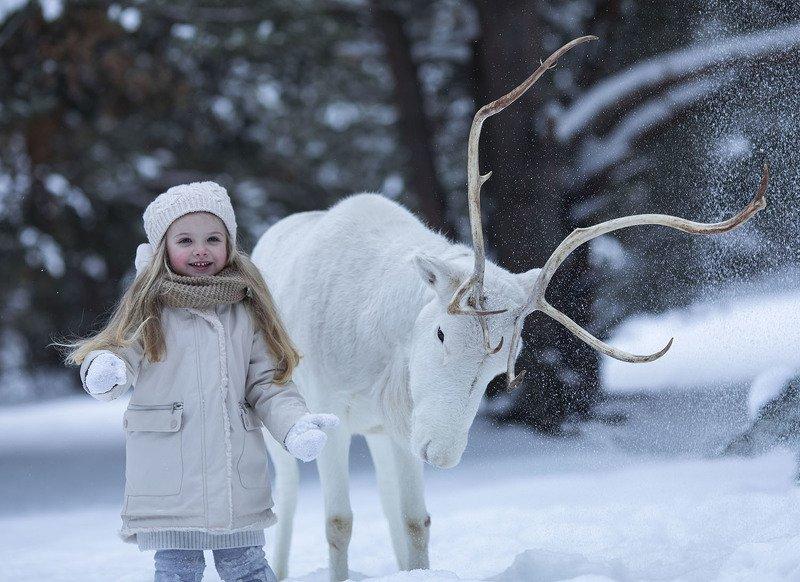 девочка, олень,зима, рождество, путешествие, children, kids, reindeer, winter, travel, emotions Путешествие в Рождествоphoto preview