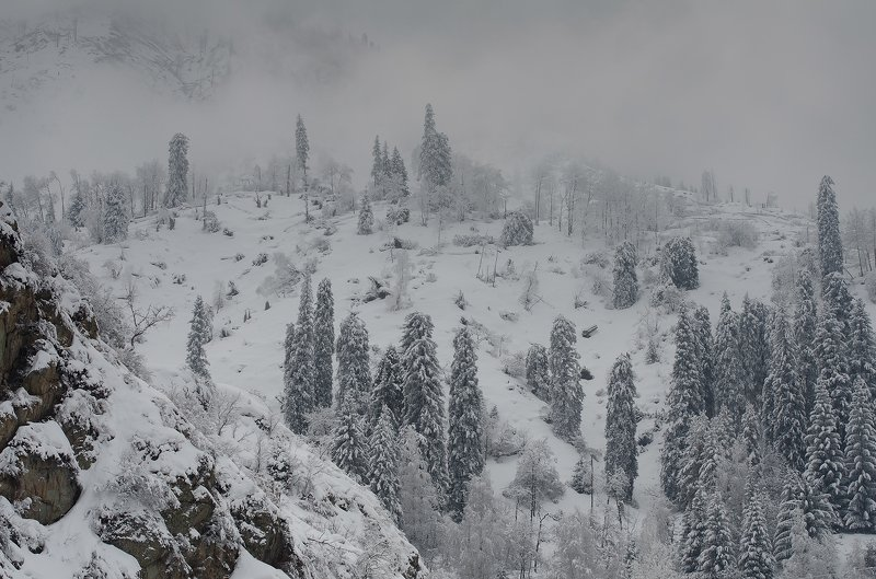 зима, горы, туман ***photo preview