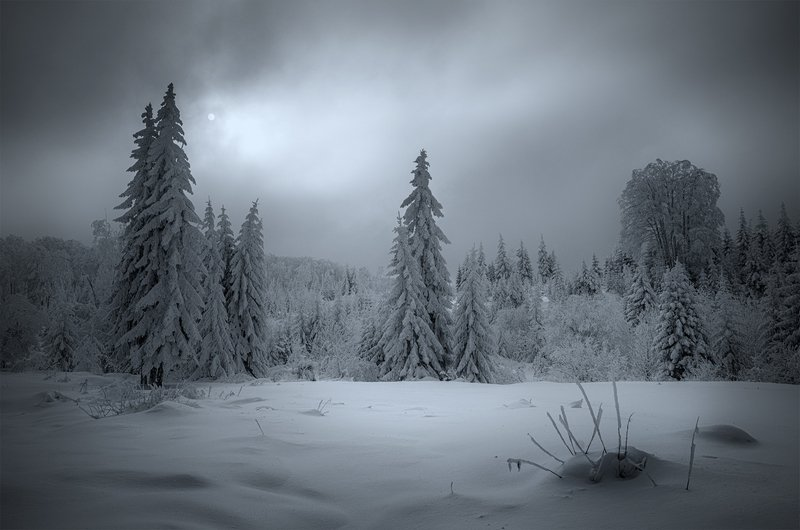 landscape nature scenery winter sunset snow clouds mountain trees пейзаж зима горы Еarly twilight / Ранние сумеркиphoto preview