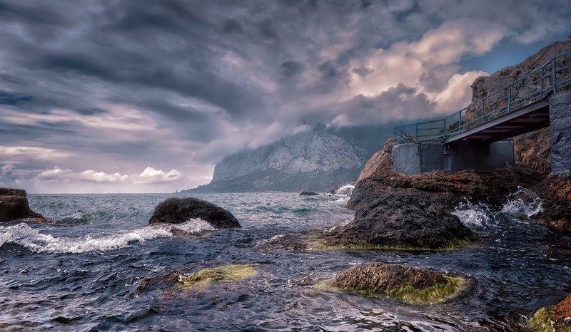 пейзаж,море,ветер,вода,волны,горы,камни Ветрено.photo preview