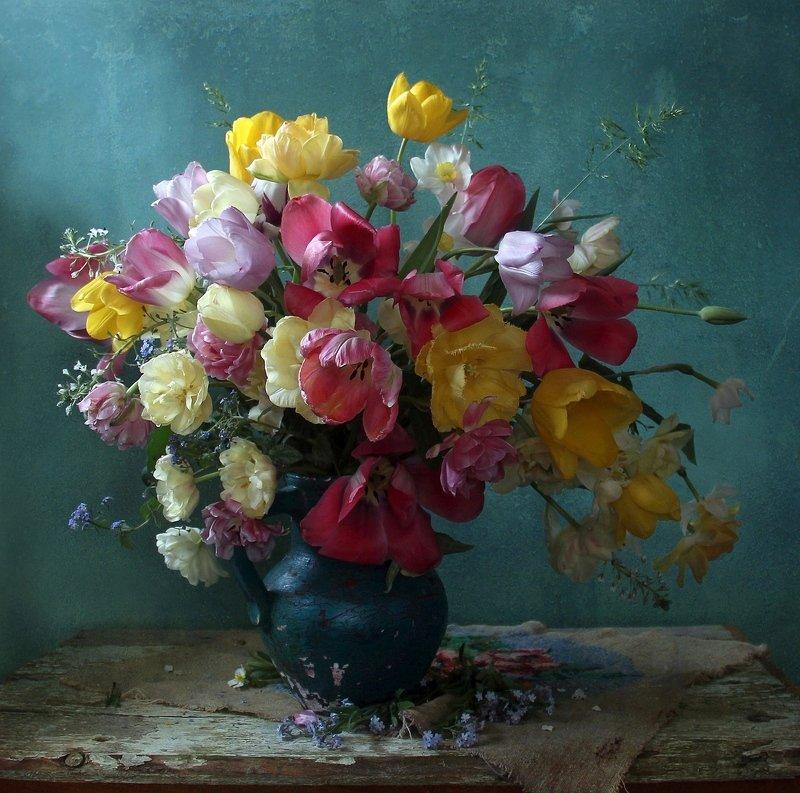 весна, натюрморт, букет цветов, тюльпаны, марина филатова photo preview