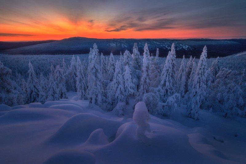 таганай, урал, горы, зима, лес Рассвет на Митькиныхphoto preview
