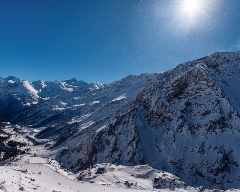 эльбрус, терскол, горы, снег, зима, холод, winter, mountains, elbrus, горнолыжный курорт, солнце, snow, sun Горнолыжный курорт \