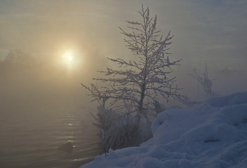 зима, утро, рассвет, косая гора, озеро горячка Холодный рассветphoto preview