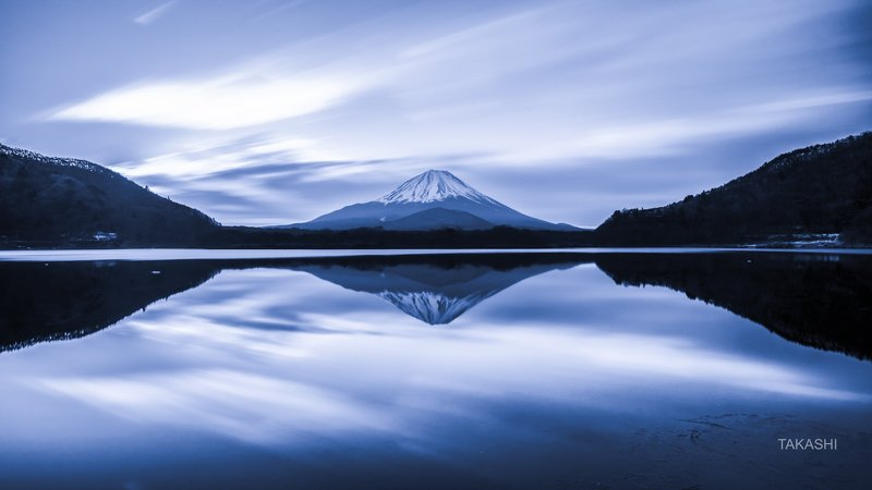 Fuji,Japan,mountain,clouds,lake,reflection, Morning waiting for sunrisephoto preview