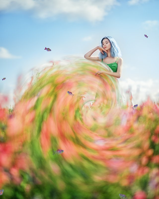 портрет, файнарт, синие волосы, розовые цветы, весна, portrait, springtime, fineart, blue hair, fantasy, pink flowers photo preview