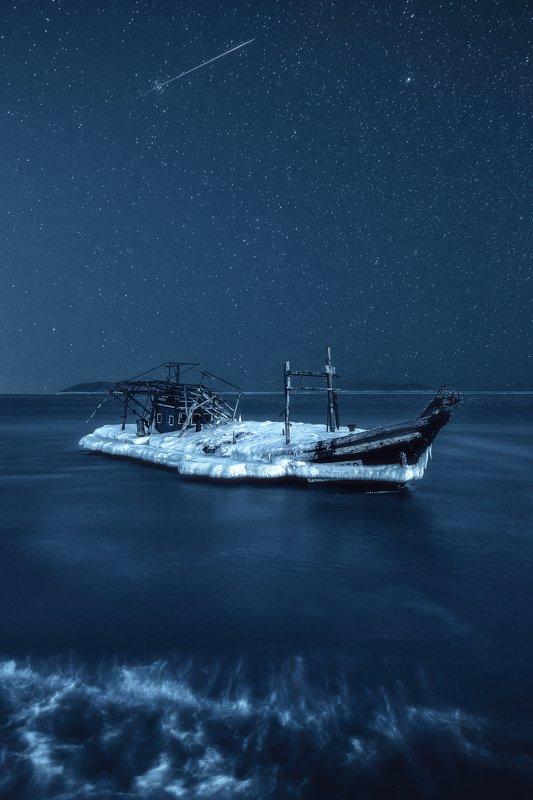 ночь, зима, море \