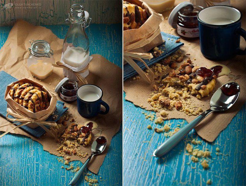диптих, триптих, фуд-фото, печенье, сгущенка, варенье, досточка, дерево, банки, стекло, бумага, ложка, шоколад, арахис, кружка, бутылка, кракелюр Cookie lovephoto preview