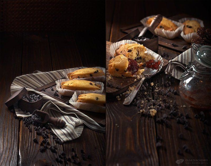 board,  bottle,  chocolate drops,  cupcakes,  jam,  paper,  scoop,  spoon,  towel Cupcakes with chocolate dropsphoto preview