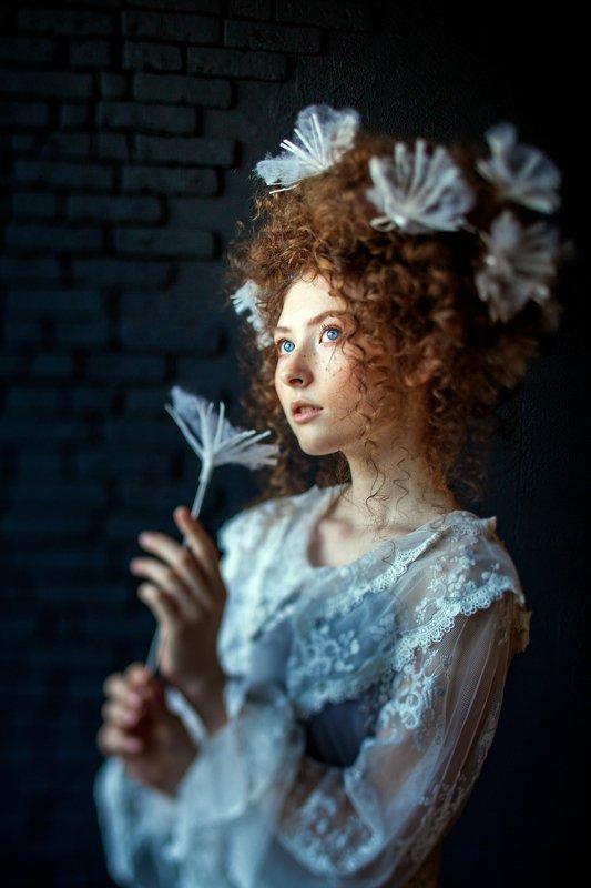 dandelion, giant, giant, fairy tale, fantasy, flower, huge, air, air, flight, girl, young, youth, lightness, white, model, transparent, look, eyes, elf, unreal, beautiful, portrait, color, lightness, spring, summer, flower garden, angel dandelionphoto preview