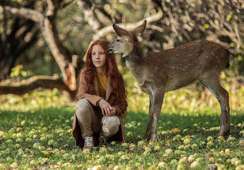 девочка,девочки,олененок,бемби,животное,знакомство,эмоции,осень,природа Сказочная встречаphoto preview