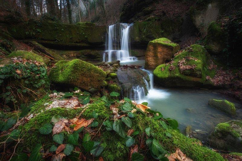 водопад, река, природа, ущелье, зима, красота, путешествие, горячий ключ, каверзинские водопады Сказочные декорации.photo preview