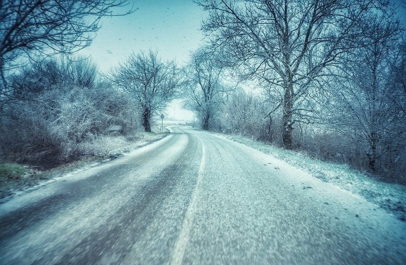 roads, winter, mycountry, hungary, photography Winter roadphoto preview