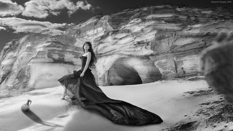 девушка,пески,настроение,арт,фото-арт, ч/б Песчаная элегияphoto preview