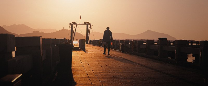 man, alone, pier, sea, sun, sunshine, morning, sunrise, gates, cinematic, cine, colors, colorgrade, colorgrading Go fishingphoto preview