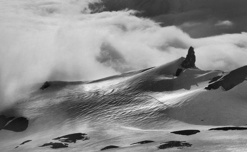 камчатка, вулкан, корякский, небо, облака, горы, снег Из серии \