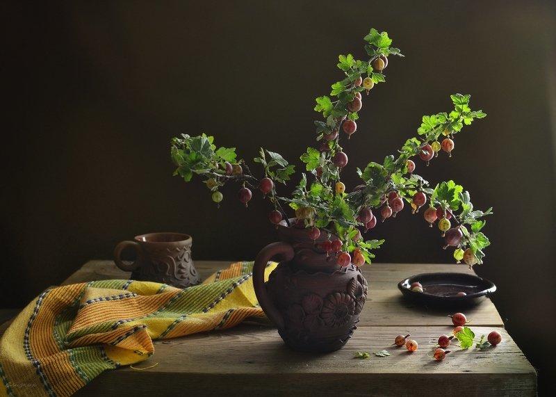 натюрморт,композиция,свет,лето,ягода,крыжовник,кружка,кувшин С крыжовникомphoto preview