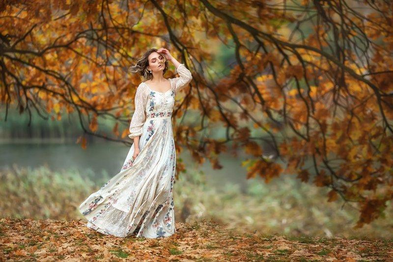 осень, девушка, листопад photo preview
