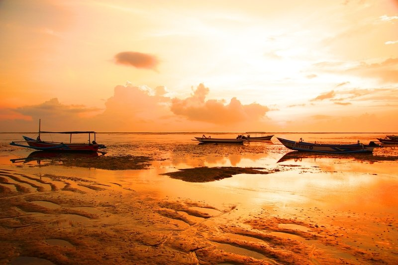 morning, sky, horizon, ocean, boat, orange, sun, dawn, sunrise, coast, landscape, water, light, color, peace Morningphoto preview