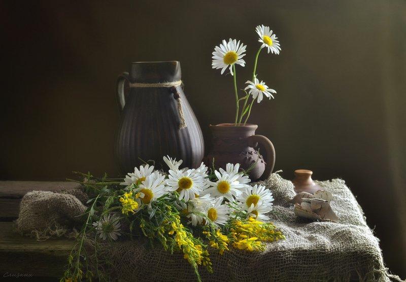 натюрморт,композиция,свет,лето,букет,кувшин,береста,ромашки Вот  очень просто..photo preview