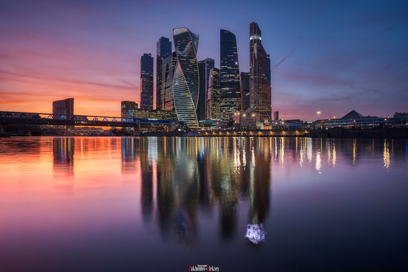 panorama, moscow, urban, city, night, landscape, color, light, москва, город, панорама, ночь, пейзаж, река, river Moscow Cityphoto preview
